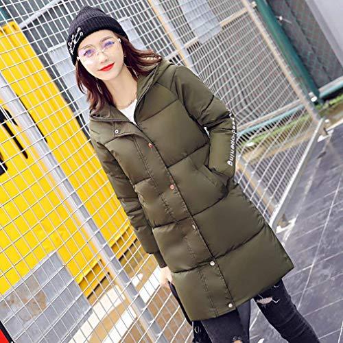 pfen Kapuzenjacke Langarm Daunenmantel Damen Kn Unifarben Seitentaschen Lang Mit Fashion Dunkelgr ntel Style Warm Zipper Unikat Young Winter M Parka P77wFqx6S