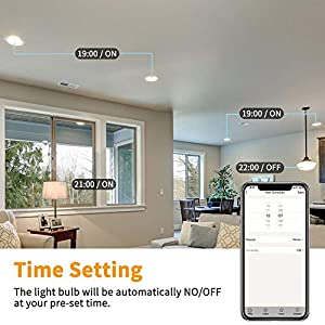 Smart LED Light Bulb E26 WiFi Light Bulb 2.4G Compatible with Alexa, Google Home and IFTTT, No Hub Required, A19 60W Equivalent RGBW CCT Color Changing Bulb, Dimmable KULED 1pack