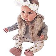 AMA(TM) 3PCS Newborn Baby Boys Girls Romper+ Pants +Headband Outfits Clothes (6M, Grey)