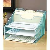 Blue 5-Compartment Desktop File Organizer