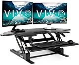 VIVO Black Corner Standing Height Adjustable Cubicle Sit to Stand - 43.5' Wide Tabletop Desk Riser (DESK-V000VC)