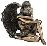 Resin Sculptures Bronzed Female Angel Statue Artistic Nude Sculpture 6 X 4.5 X 5.5 Inches Bronze