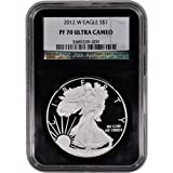 2012 W American Silver Eagle Proof $1 PF70 UCAM - 'Retro' Black Core NGC