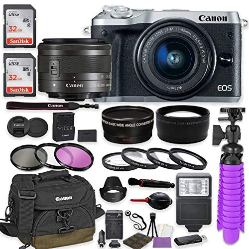 Canon EOS M6 Mirrorless Digital Camera (Silver) Premium Accessory Bundle with Canon EF-M 15-45mm is STM Lens (Silver) + Canon Water Resistant Case + 64GB Memory + HD Filters + Auxiliary Lenses
