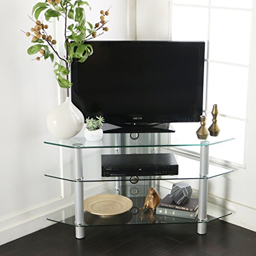 "Walker Edison 44"" Glass Corner TV Stand, Silver"