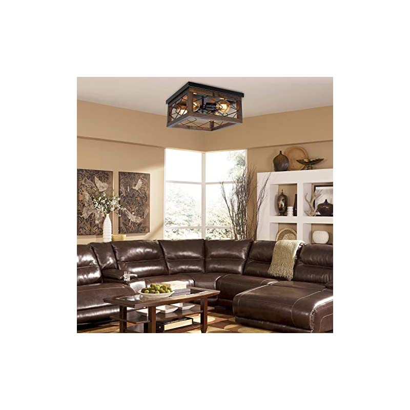 PUZHI HOME Farmhouse Wood Ceiling Light, 4-Light Square Rustic Close to Ceiling Lighting Flush Mount Ceiling Light…