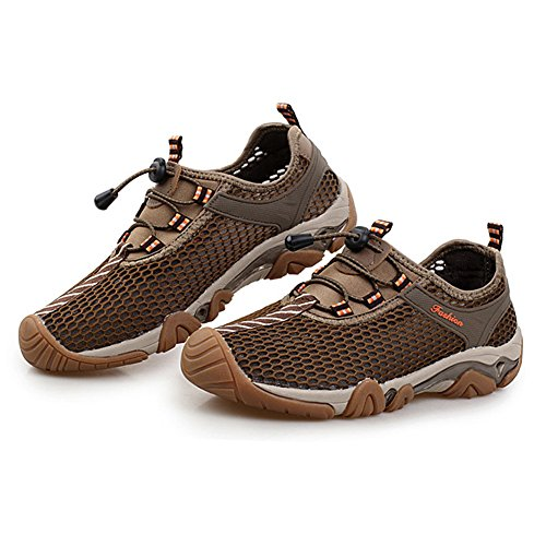 LikeYou Shoes Breathable Mesh Summer Outdoor Shoes New Style Men's Athletic Shoes Climbing Hiking Shoes Suitable for all kinds of Sports (9UK /27.5CM, Khaki)