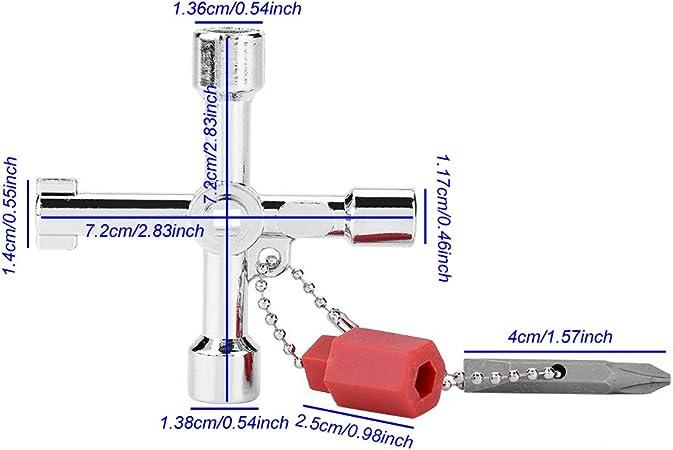 Fortspang Universal 5 en 1 Tri/ángulo Llave de la Pantalla de la Llave de la Puerta Llave de la Llave del Interruptor del Elevador Transversal con Cabezal de Lote