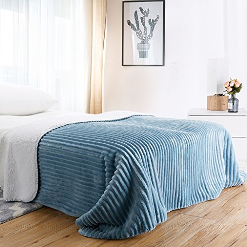 """Large Double Flannel Blanket - LANGRIA Soft Chunky Ribbed Flannel Blanket Super Warm and Cozy Lightweight Reversible Sherpa Throw Blanket with Rib Stripes Machine Washable for Sofa Couch Bed Winter Blanket (Twin Size 60x80"""", Blue)"""