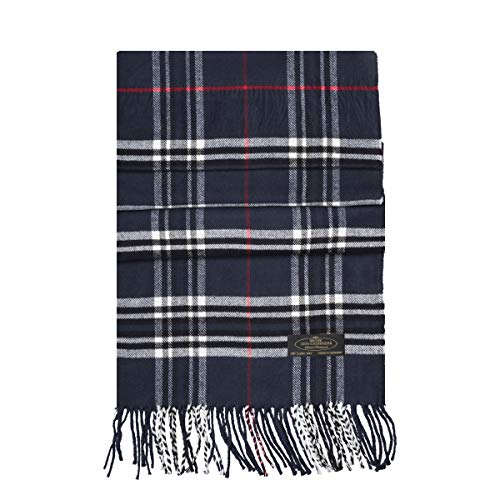 (Messerio Plaid%100 Cashmere Scarf (Navy White & Red Plaid))