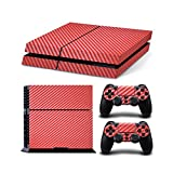 Gam3Gear Vinyl Sticker Pattern Decals Skin for PS4 Console & Controller- Red Carbon Fiber