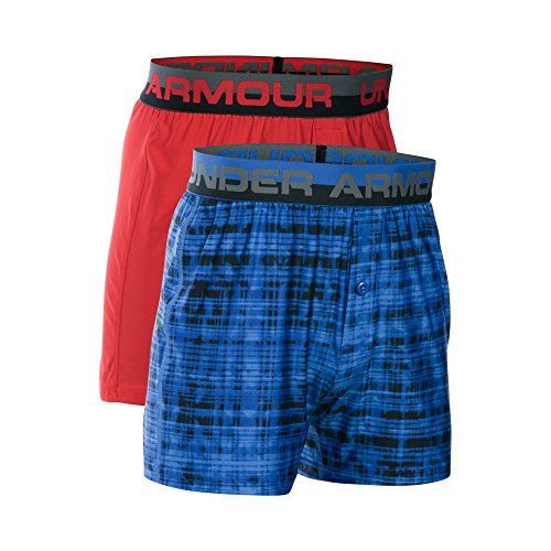 Under Armour Boys' Original Series Boxer Shorts 2-Pack, Powderkeg Blue/Red, Youth Medium (Under Armour Boxer Shorts)