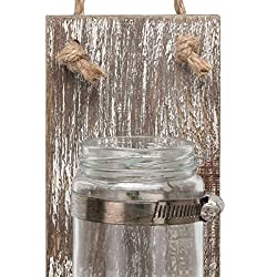 Stonebriar Rustic White Wash Wooden Mason Jar Wall