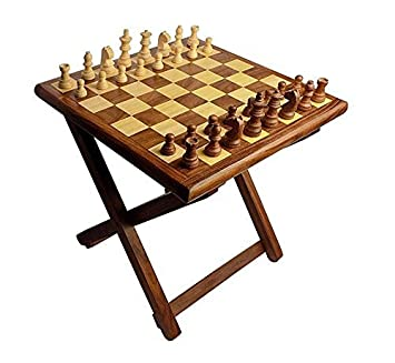 Craftatoz Chess Wooden Table Chess, 12-inch(Multicolour)
