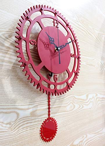 - YHEGV European Antique Clock Wall Clock Retro Clock Elegant Atmosphere of The Living Room Alarm Clock Swing (Color: red)