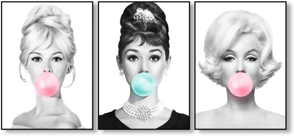 ZLOVELIFE Audrey Hepburn Bubble Gum Wall Art Canvas Fashion Posters Brigitte Bardot /& Marilyn Monroe Prints Painting Pictures Home Decor-30x40/_cm/_No/_Frame