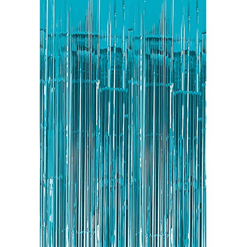 Aqua Foil - Moohome Big 3ft x 8ft Aquamarine Tinsel Metallic Foil Fringe Curtains Backdrop Door Window Curtain Party Decoration (2-Pack, Aquamarine)