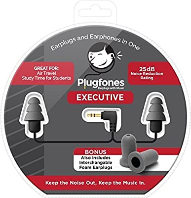 Plugfones Contractor New and Improved Line Ear Plug Earbuds Headphones with Silicone and Foam Hearing Protection