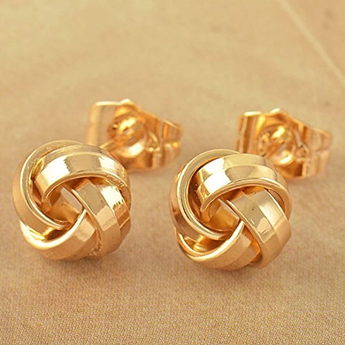 New Fashion Lovely 9K Solid Gold Filled Womens Love-Knot Stud Earrings