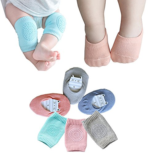 Baby Crawling Anti-Slip Knee and Anti Slip Baby Boys Girls Socks Best Infant Gift, Unisex Baby Toddlers Kneepads 3 Pairs, Soft Cotton Assorted Boys Girls Grip Walkers Socks 3 Pairs (Blue Pink Grey)