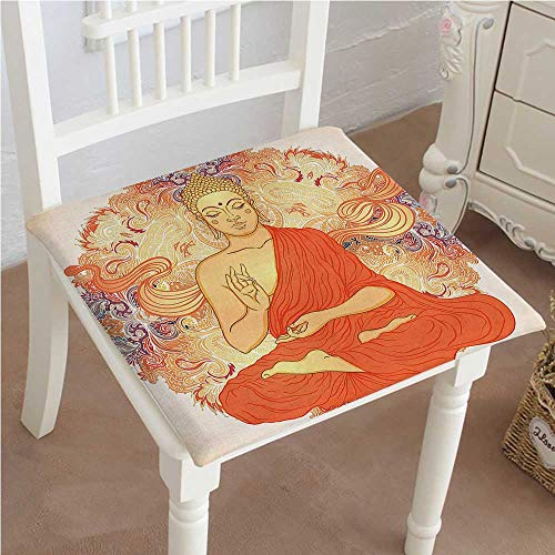 Mikihome Classic Decorative Chair pad Seat Yoga Meditation Aura Thai Temple Ornamental Motive Spiritual Design Print Orange Cushion with Memory Filling 32''x32''x2pcs by Mikihome
