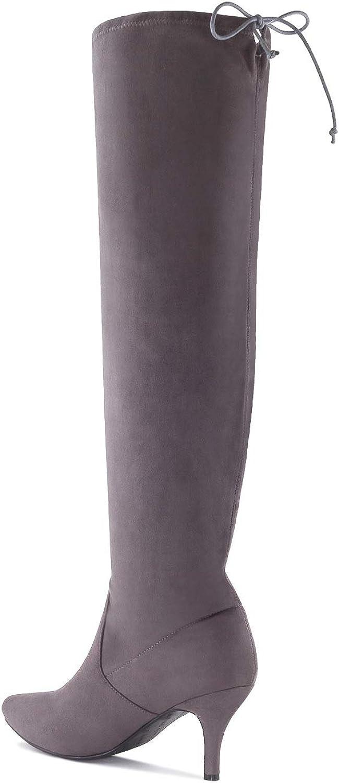 Andres Machado - AM4108 - Hohe Stiefel aus Velourleder.EU 32 bis 35/42 bis 45 Velour Grau