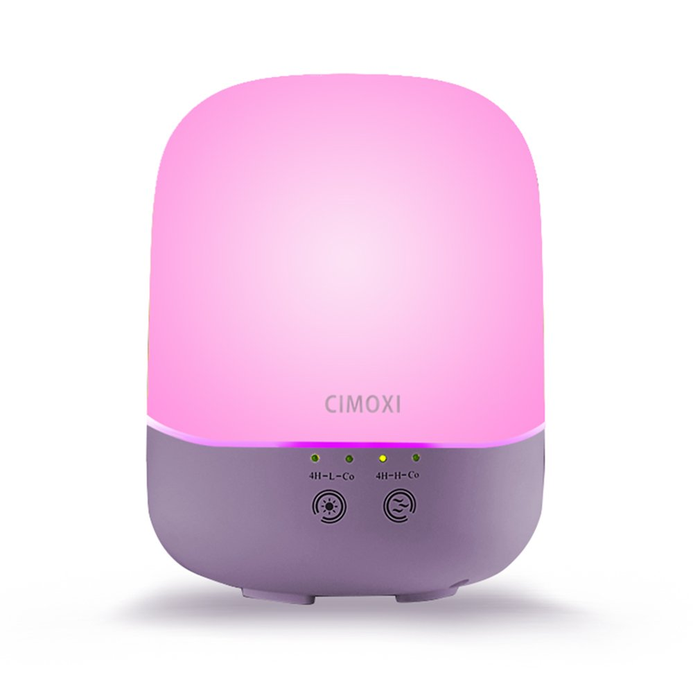CIMOXI Essential Oil Diffuser 300ml, Portable Ultrasonic Cool Mist Humidifier [7 Color-changing Led Lights] [Auto Shut-off], [Adjustable Mist Modes] for Home Office Yoga Baby Room-Purple