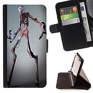 - Skull Devil Diablo Extraterrestrial - - Prima caja de la PU billetera de cuero con ranuras para tarjetas, efectivo Compartimiento desmontable y correa para la mu?eca FOR HTC M8 One 2 King case