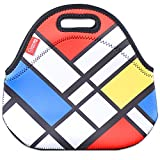 Neoprene Lunch Tote Bags, YOUKEE Thick Insulated Lunch Bags Waterproof Thermal Cooler Outdoor Travel Picnic Lunch Handbags Tote with Zipper, Mondrian pattern