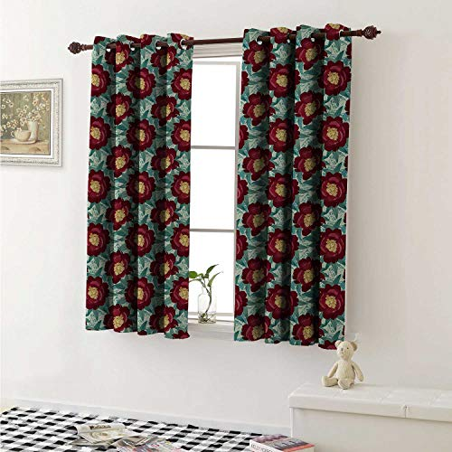 shenglv Floral Drapes for Living Room Flourishing Nature Themed Abstract Illustration Botanical Romantic Poppies Curtains Kitchen Window W96 x L72 Inch Ruby Yellow Teal