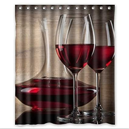 GREATY Custom Drink Red Wine Glass Waterproof Bathroom Shower Curtain Polyester Fabric Size 60