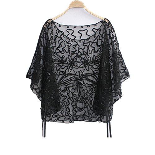 Blusa de encaje y gasa, estilo suelto, con manga larga para mujer, por Santwo negro