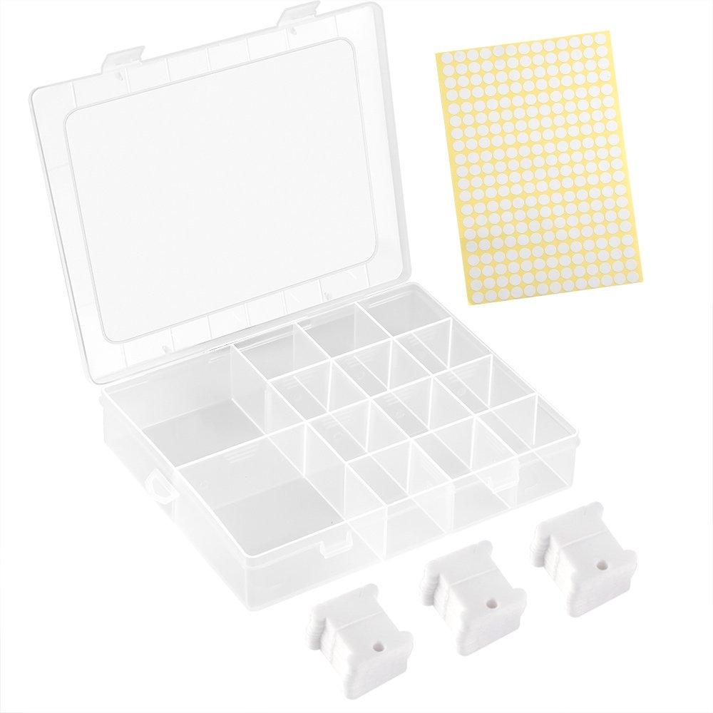 FEPITO 120 piezas de hilo de plástico blanco bobinas conjunto bordado hilo Bobinas con caja de
