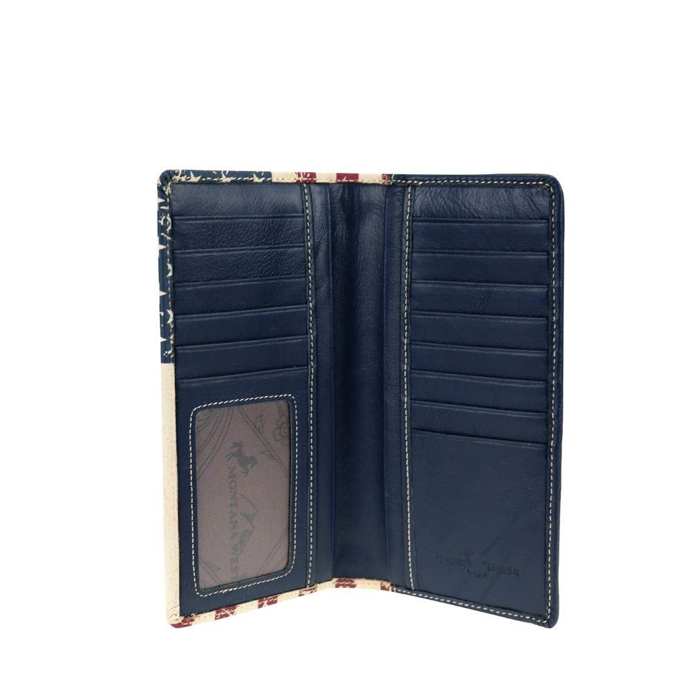 Montana West Mens USA Texas Bifold Leather Flag Star Patriotic Wallet USA long