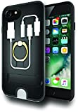 2Go EverCase Multi-Storage iPhone 7/8 Credit Card Case, 3.5mm Headphone Adapter Cable and MFI-certified Lightning Cable Storage (MFI-cable included), Ring Holder and Kickstand - Black