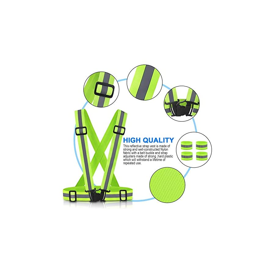 Reflective Vest Running Gear 2Pack, SAWNZC Adjustable Safety Vest Outdoor Reflective Belt High Visibility with 4 Reflective Wristbands Straps for Night Cycling Walking Jogging Motorcycle Dog Walking