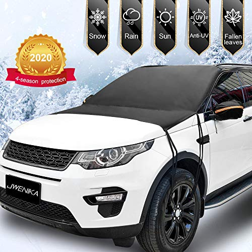 【2020 Updated Version】Windshield Snow Cover, Extra Large & 3-Layer Thick Windshield Cover for Ice and Snow Fits Any Car Truck SUV Van MPV, Lengthen 8 Straps Double Fixed Design Winter Summer Sun Shade