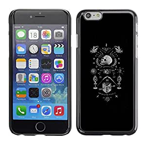 Shell-Star Arte & diseño plástico duro Fundas Cover Cubre Hard Case Cover para Apple iPhone 6(4.7 inches) ( Skull Black Coat Of Arms White Death )