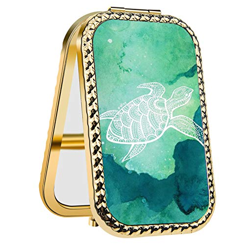(IMLONE Rectangle Purple Sea Turtle Compact Purse Mirror with 2X Magnification, Portable Folding Makeup Mirror, Great Choice and Best Gift for You and Your)