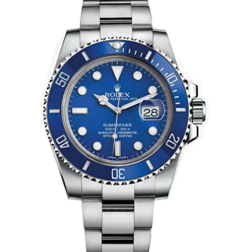 Rolex Men's 116619 Submariner White Gold Watch W/ Blue Dial