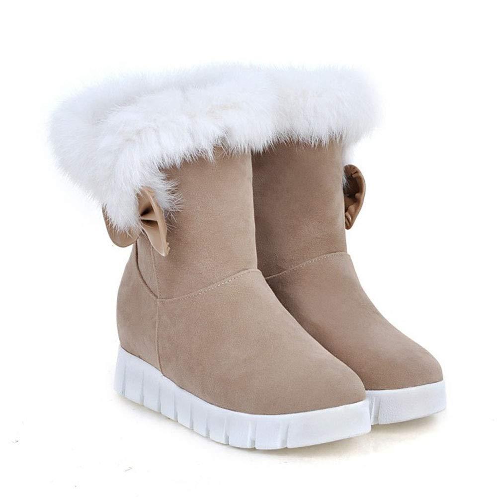 Hy Frauen 2018 Frauen Hy Schnee Stiefel Wildleder Winter Slip-Ons Dicke Unterseite Bowknot Stiefelies Damen Große Größe Plus Cashmere Skiing Schuhe (Farbe   Beige Größe   38) cea86c