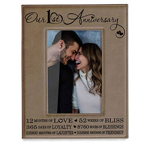 Our First (1st) Anniversary Engraved Leather Picture Frame - Gifts for Couple, Gifts for Him, Gift for Her, Paper, Picture Frame, First Wedding (4x6-Vertical)