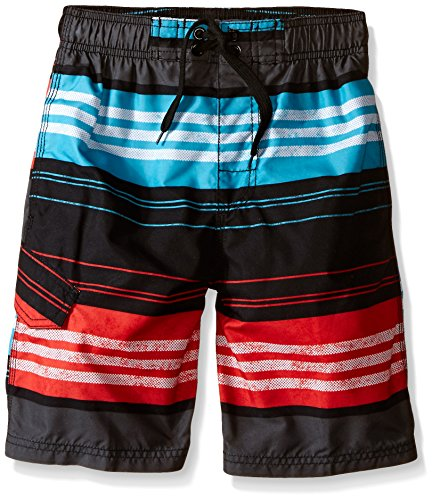 Kanu Surf Big Boys' Halo Stripe Swim Trunk, Black/Red, Small (8) (Halo Suits For Kids)