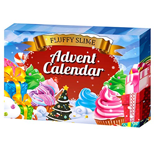 ORIENTAL CHERRY Advent Calendar 2019 - DIY Fluffy Slime Kit - Countdown to for Kids Girls Teens 4 5 6 7 8 9 Year Old