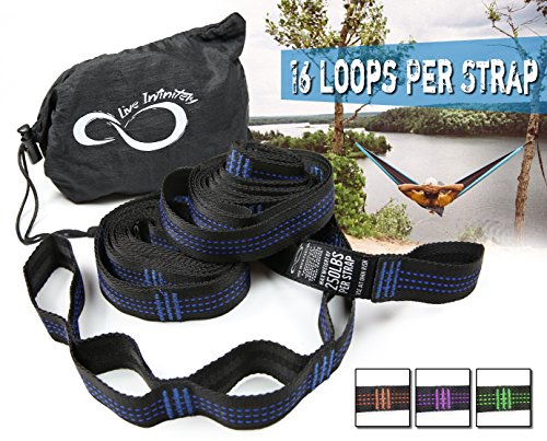 Hammock Suspension Tree Straps- Easy 16 Loops Straps  Lightweight Stretch Resistant 11' Poly Webbed Strap With Triple & Carrying Bag - 500 Total Pounds- Universal Use For ENO, Grand Trunk (Blue) (Trunk Pouch Triple)
