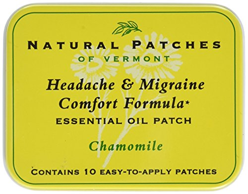 Natural Patches of Vermont Headache & Migraine Comfort Formula Essential Oil Body Patches, Chamomile, 10-Count Tin ()