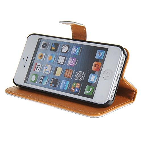 MOONCASE Case für iPhone 5 / 5G / 5S Tasche Flip Leder Schutzhülle Etui Case Cover Hülle Schale / a01