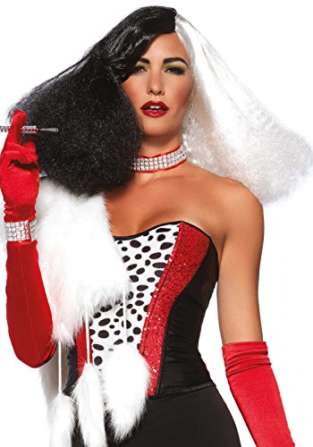 Leg Avenue Women's Diva Disco Wig, Black/White, One Size (Adult Cruella De Vil Costume)