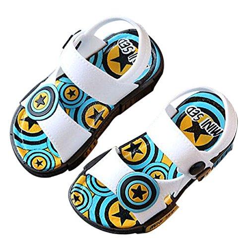 Meijunter Baby Jungen Säugling Mode Stern Muster Anti-Rutsch Lässige Flache Schuhe Kleinkind Kinder Strand Sandalen Regen Stiefel Weiß
