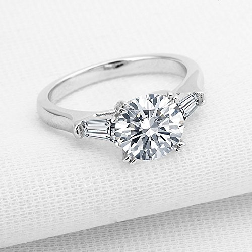 espere Sterling Silver 2 Carat CZ Baguette Round Solitaire Engagement Ring Bridal Wedding Jewelry by espere (Image #5)